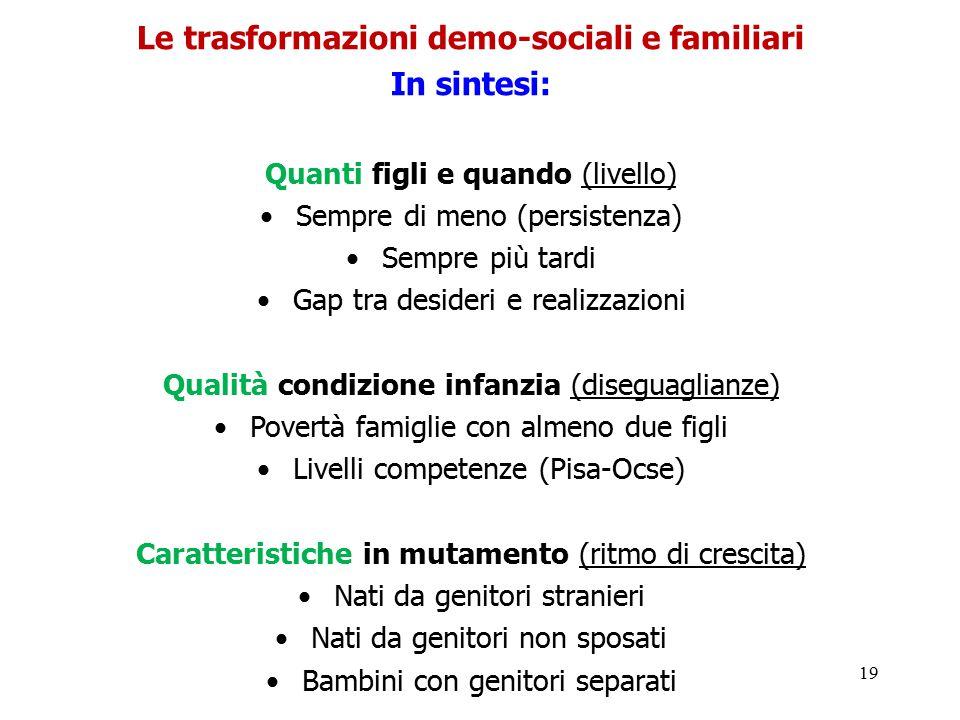 Le trasformazioni demo-sociali e familiari
