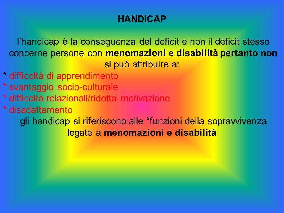 l'handicap è la conseguenza del deficit e non il deficit stesso