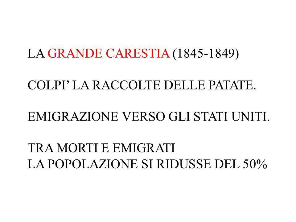 LA GRANDE CARESTIA (1845-1849) COLPI' LA RACCOLTE DELLE PATATE. EMIGRAZIONE VERSO GLI STATI UNITI.