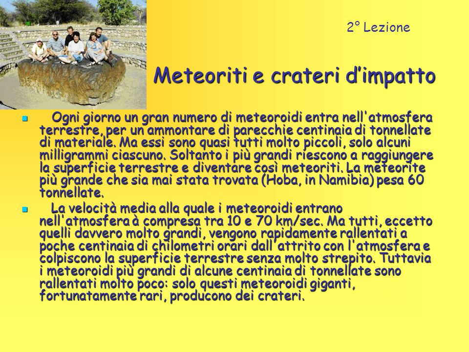 Meteoriti e crateri d'impatto