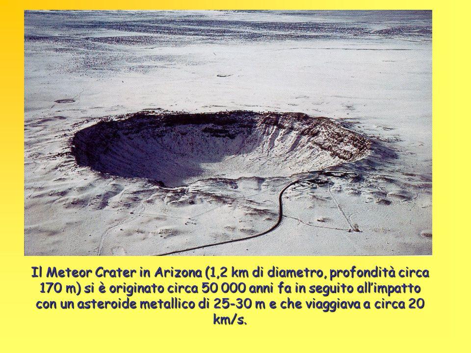 Il Meteor Crater in Arizona (1,2 km di diametro, profondità circa 170 m) si è originato circa 50 000 anni fa in seguito all'impatto con un asteroide metallico di 25-30 m e che viaggiava a circa 20 km/s.