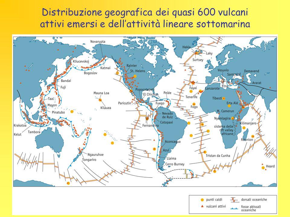 Distribuzione geografica dei quasi 600 vulcani attivi emersi e dell'attività lineare sottomarina