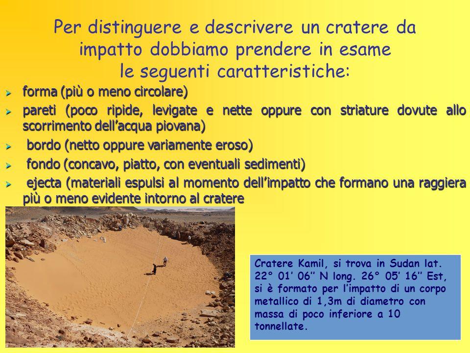 Per distinguere e descrivere un cratere da impatto dobbiamo prendere in esame le seguenti caratteristiche: