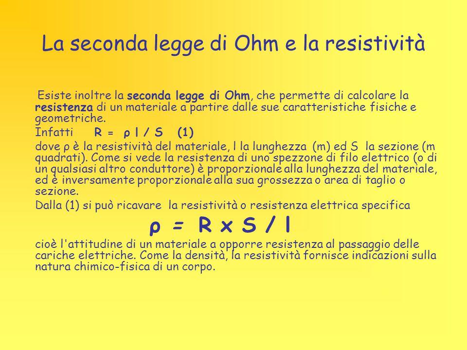 La seconda legge di Ohm e la resistività
