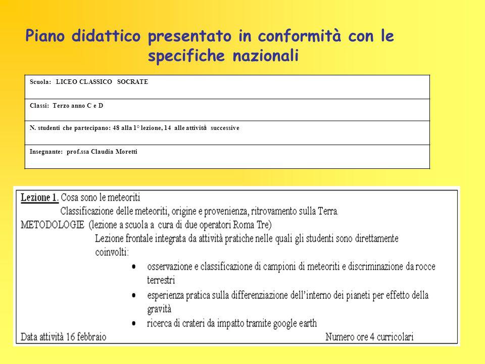 specifiche nazionali Piano didattico presentato in conformità con le