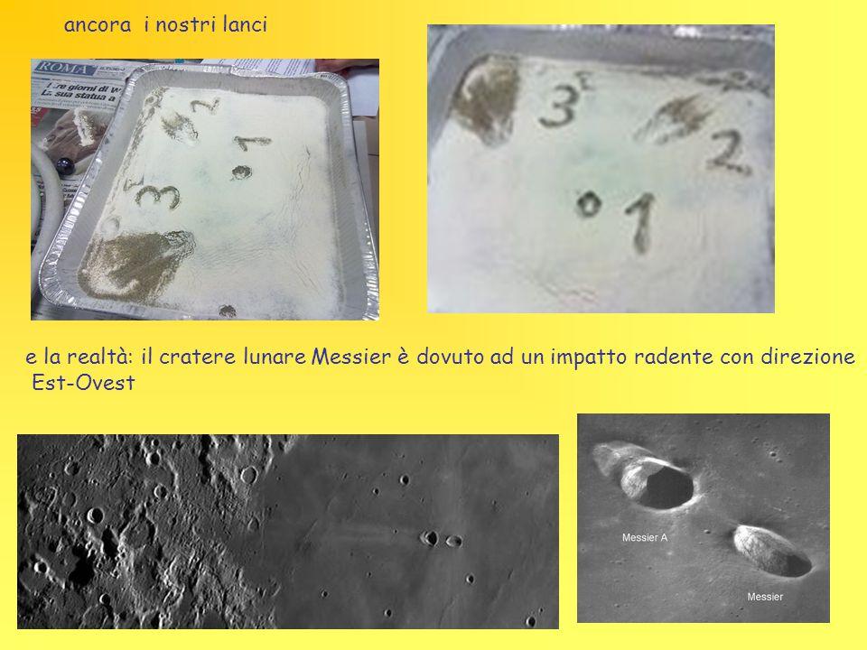 ancora i nostri lanci e la realtà: il cratere lunare Messier è dovuto ad un impatto radente con direzione.