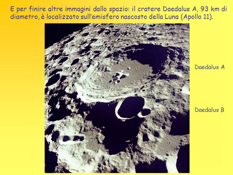 E per finire altre immagini dallo spazio: il cratere Daedalus A, 93 km di diametro, è localizzato sull'emisfero nascosto della Luna (Apollo 11).
