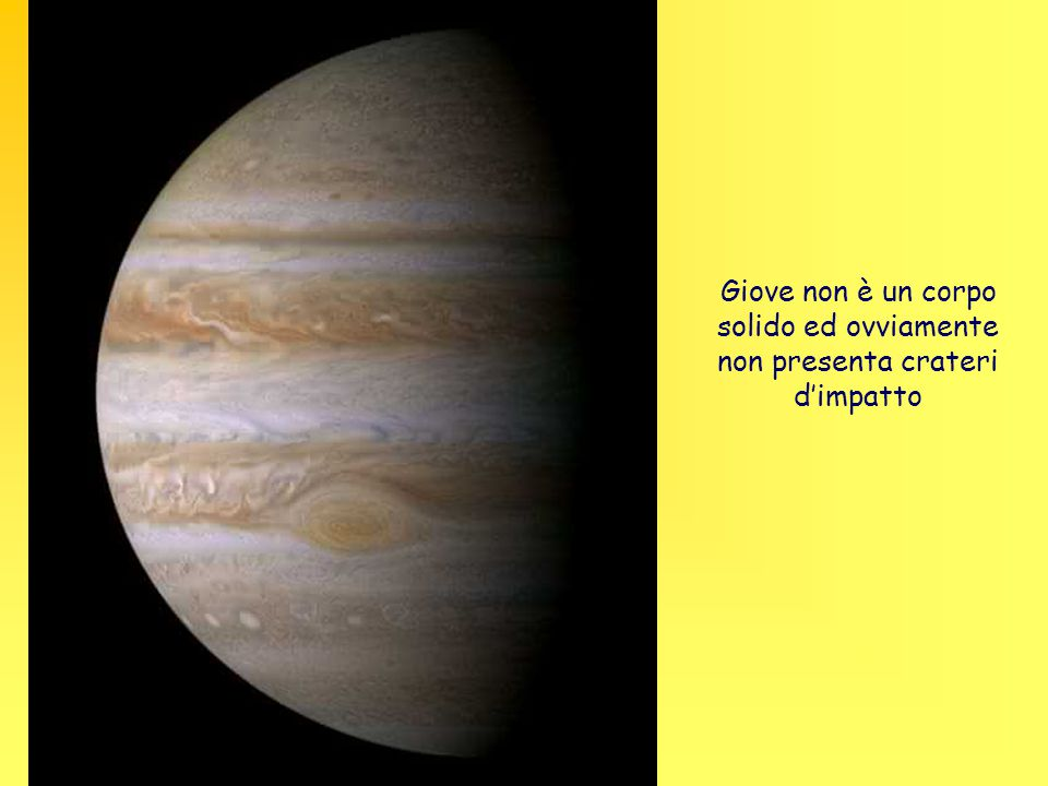 Giove non è un corpo solido ed ovviamente non presenta crateri d'impatto