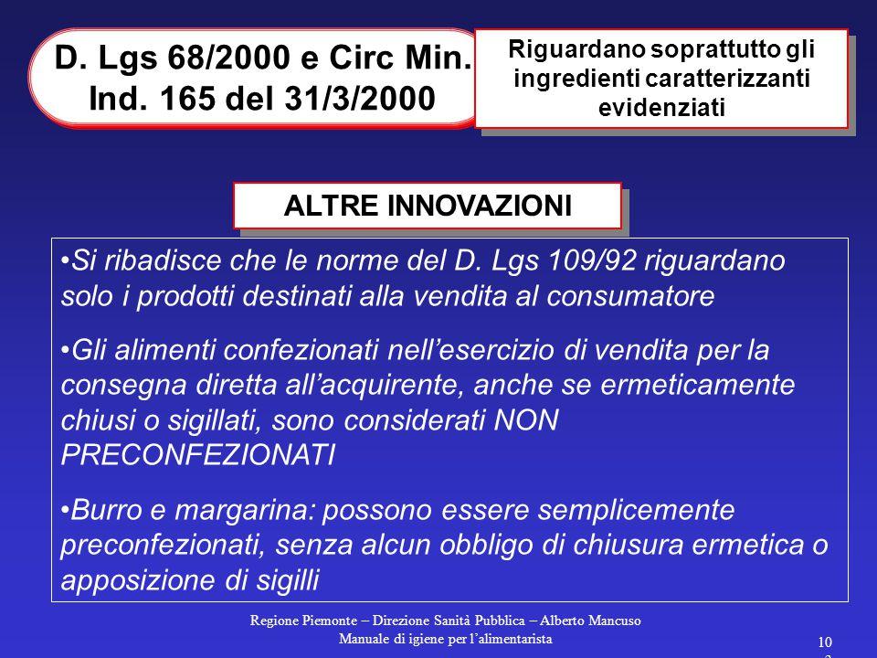D. Lgs 68/2000 e Circ Min. Ind. 165 del 31/3/2000