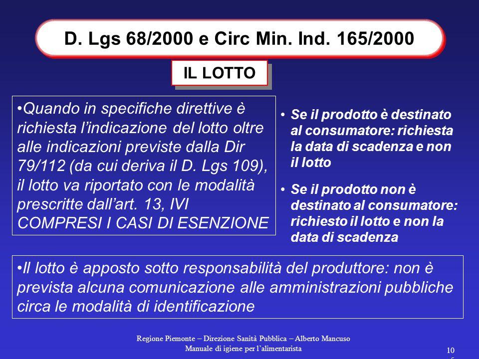 D. Lgs 68/2000 e Circ Min. Ind. 165/2000 IL LOTTO