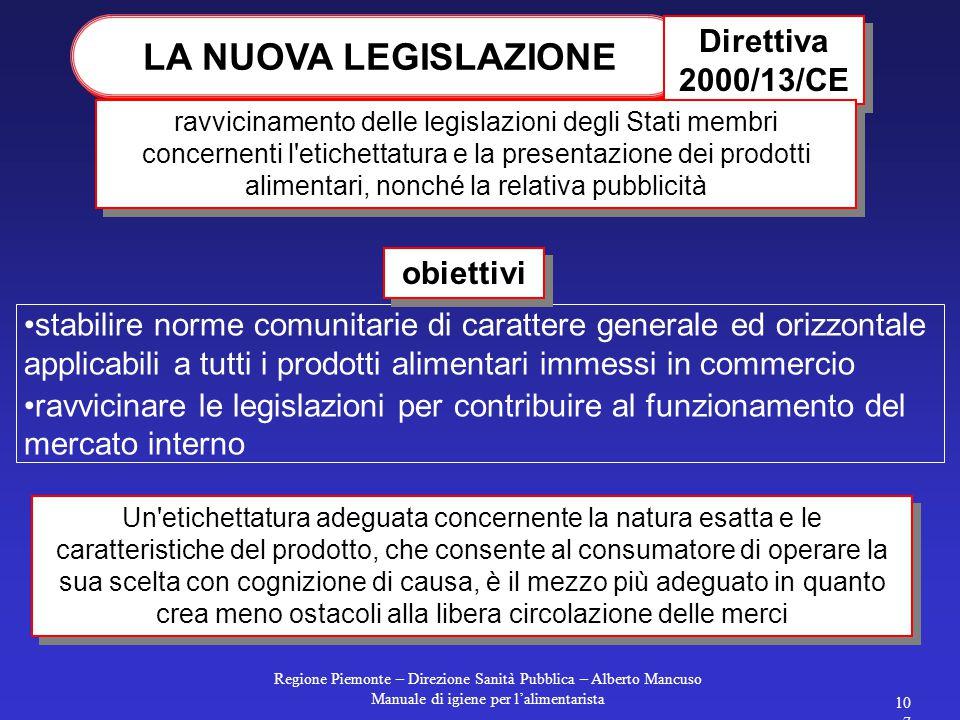 LA NUOVA LEGISLAZIONE Direttiva 2000/13/CE obiettivi