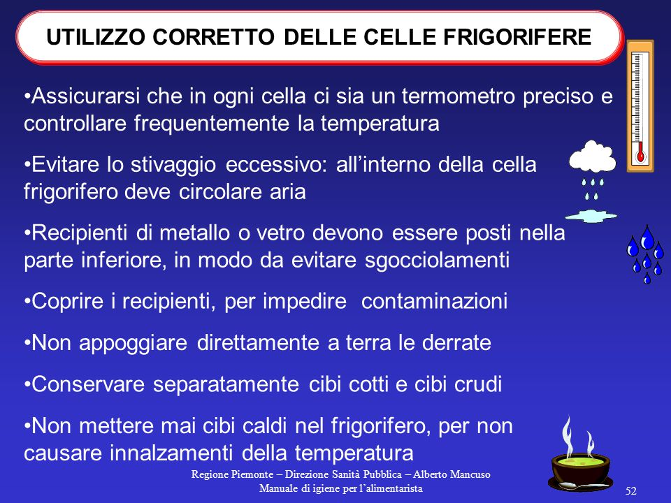UTILIZZO CORRETTO DELLE CELLE FRIGORIFERE