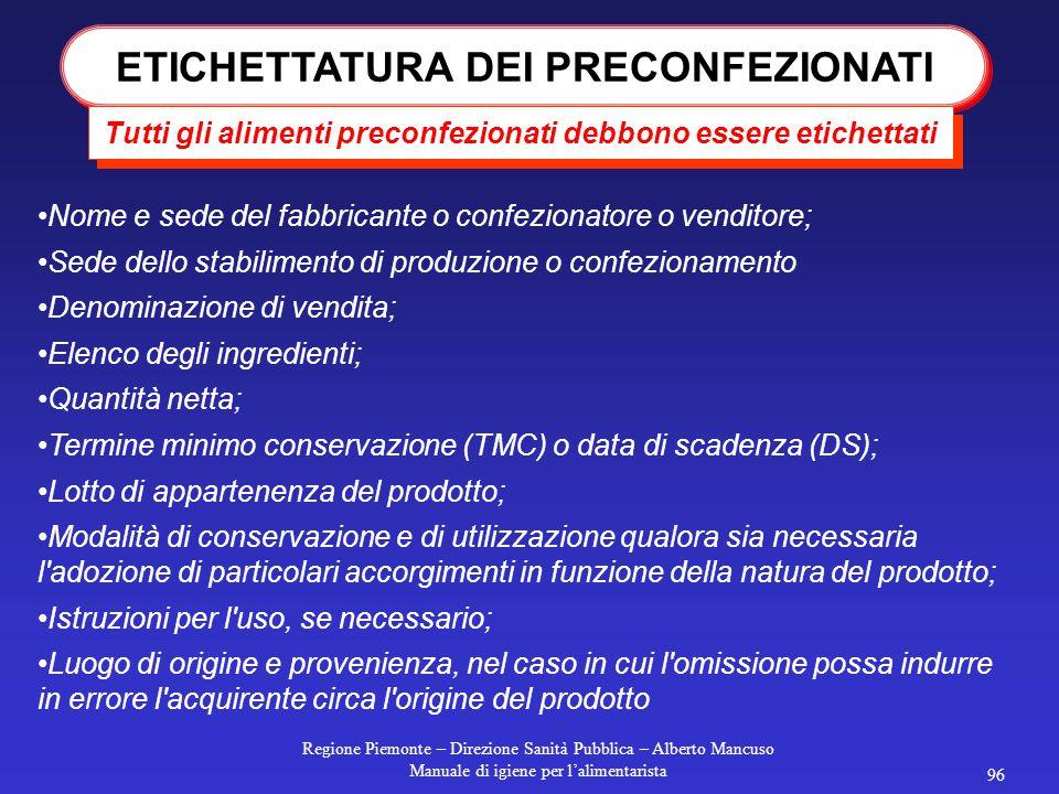 ETICHETTATURA DEI PRECONFEZIONATI