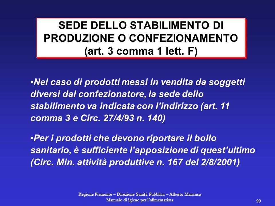 SEDE DELLO STABILIMENTO DI PRODUZIONE O CONFEZIONAMENTO (art