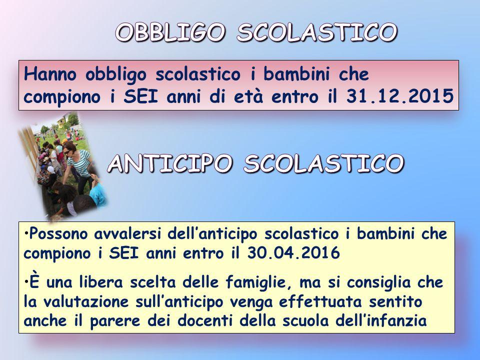 OBBLIGO SCOLASTICO ANTICIPO SCOLASTICO