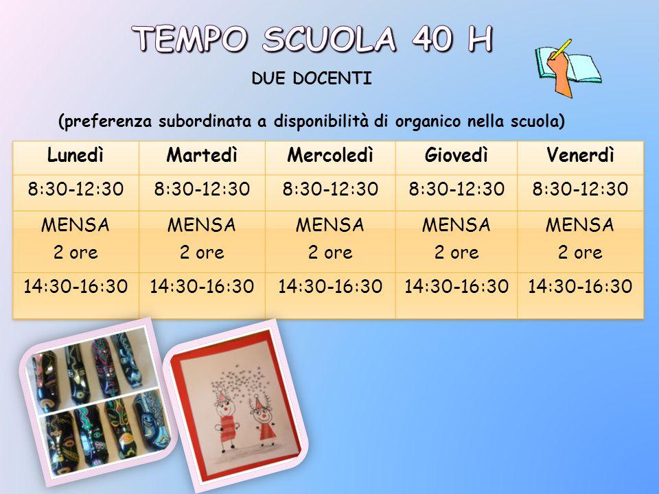 (preferenza subordinata a disponibilità di organico nella scuola)