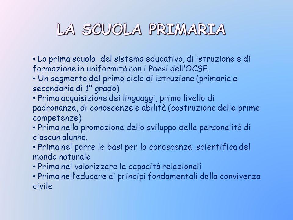 La Scuola Primaria La prima scuola del sistema educativo, di istruzione e di formazione in uniformità con i Paesi dell'OCSE.