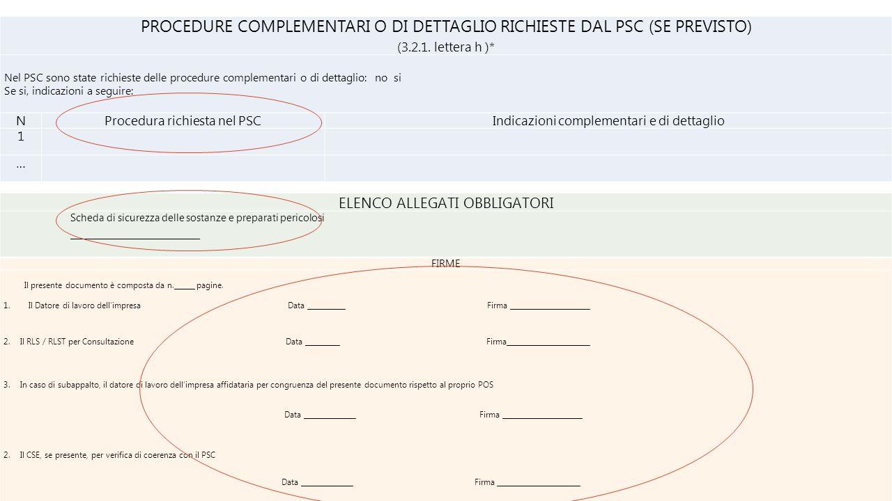 PROCEDURE COMPLEMENTARI O DI DETTAGLIO RICHIESTE DAL PSC (SE PREVISTO)