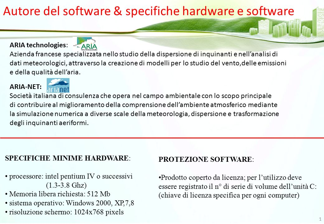 Autore del software & specifiche hardware e software