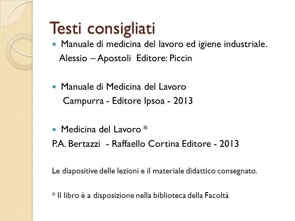 Testi consigliati Manuale di medicina del lavoro ed igiene industriale. Alessio – Apostoli Editore: Piccin.