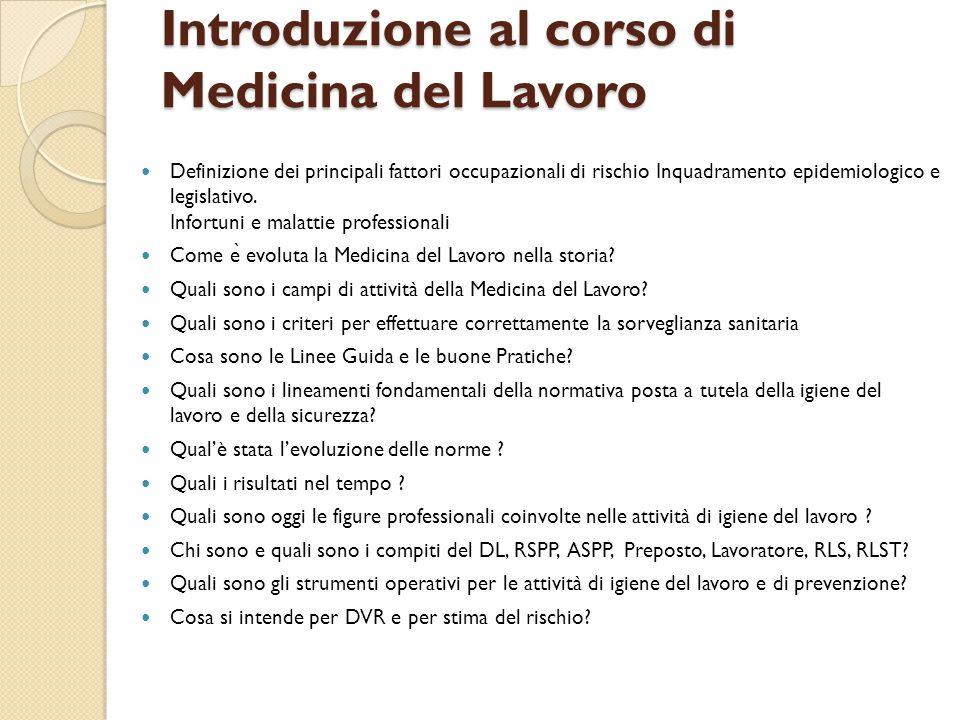 Introduzione al corso di Medicina del Lavoro