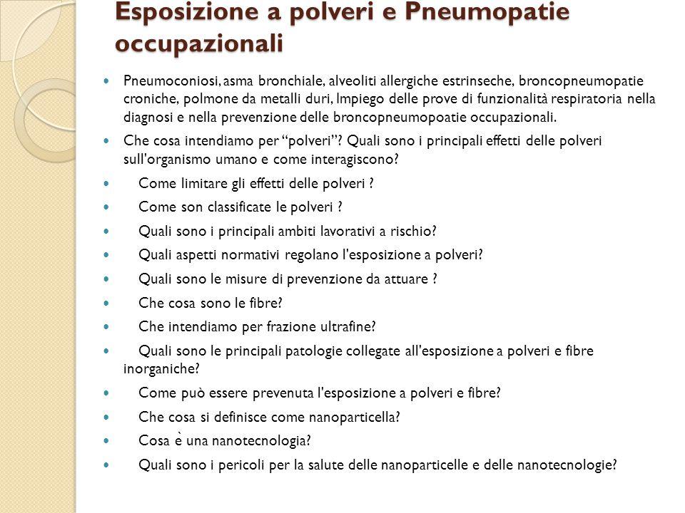 Esposizione a polveri e Pneumopatie occupazionali