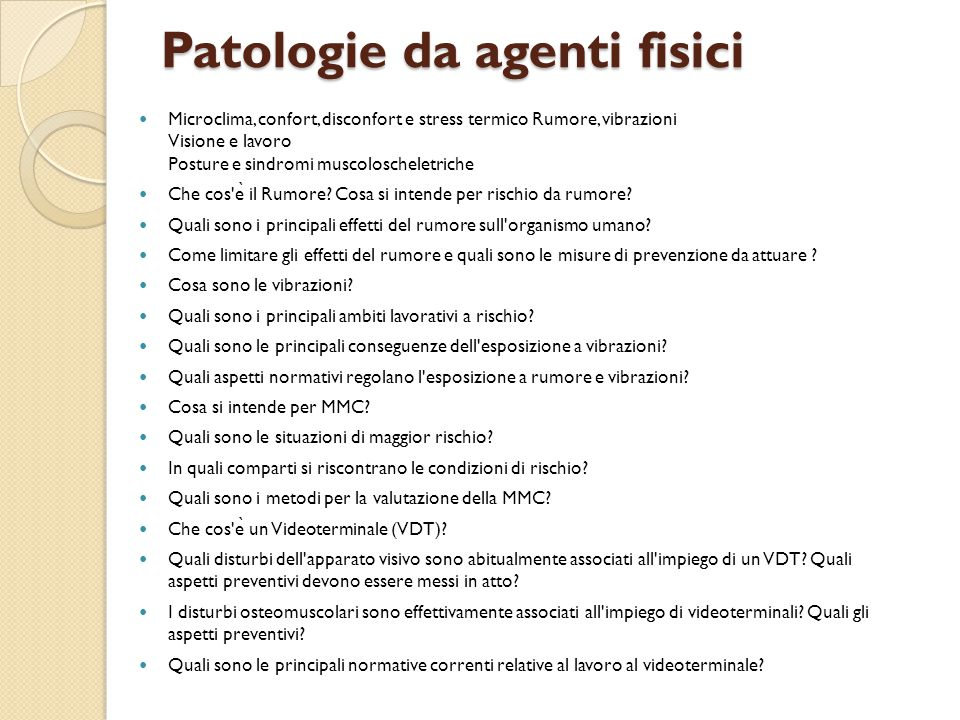 Patologie da agenti fisici