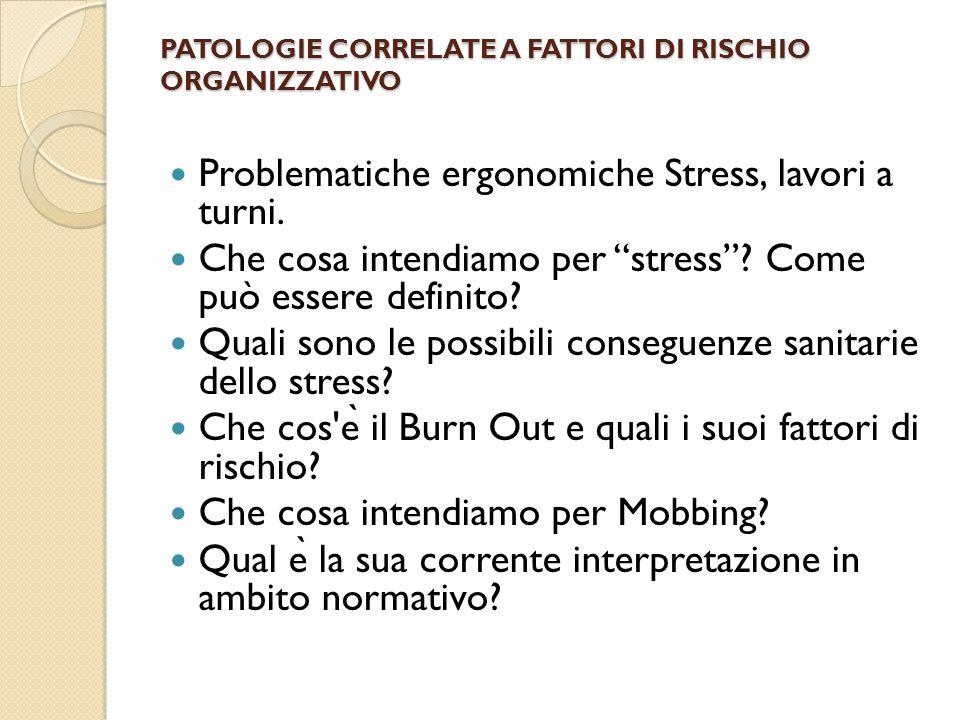 PATOLOGIE CORRELATE A FATTORI DI RISCHIO ORGANIZZATIVO