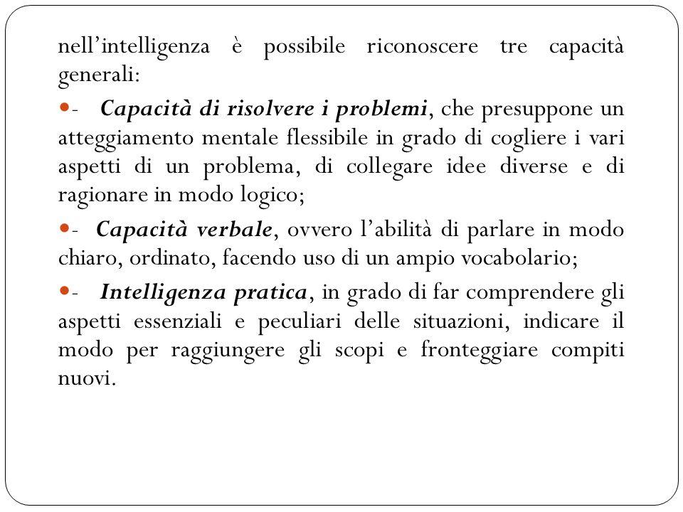 nell'intelligenza è possibile riconoscere tre capacità generali: