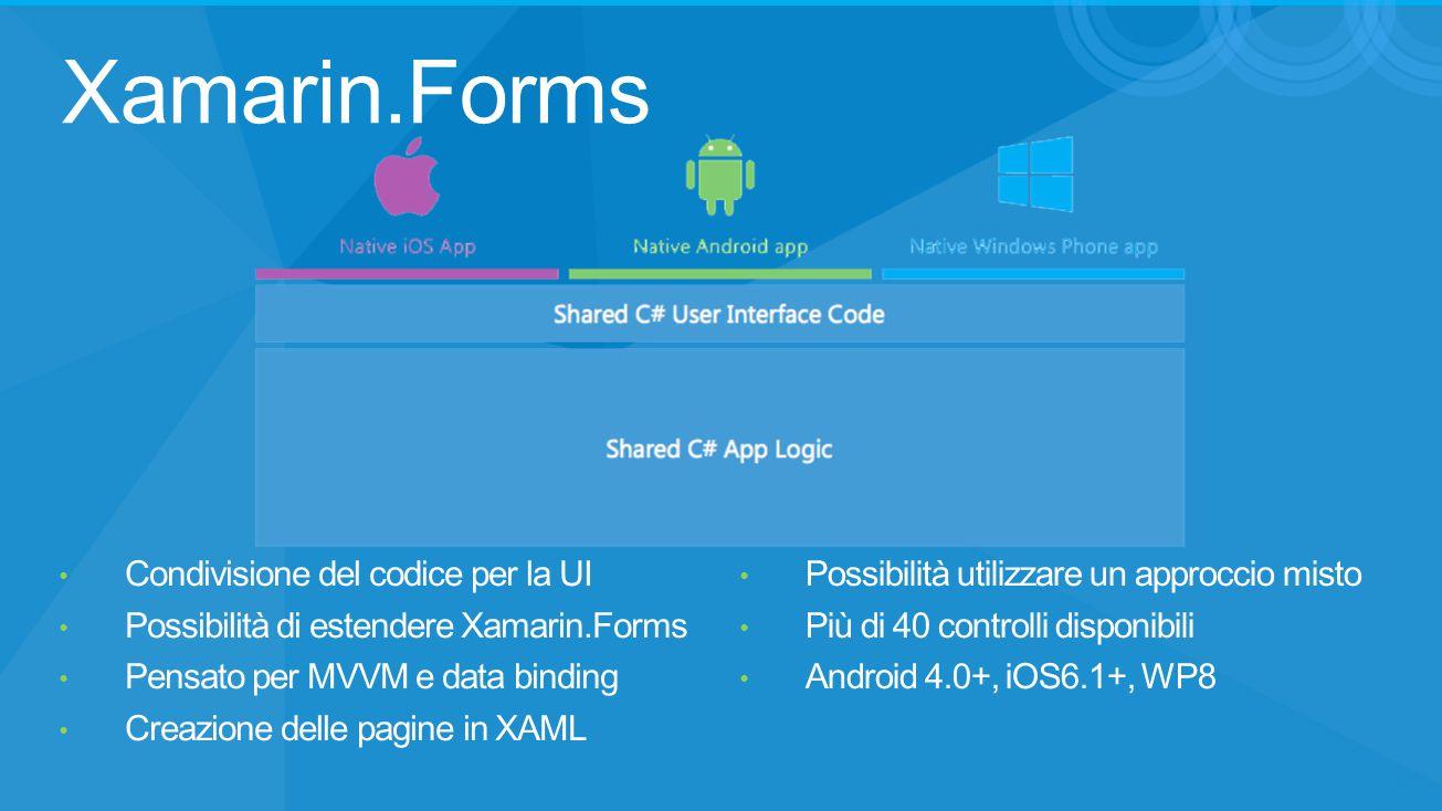 Xamarin.Forms Condivisione del codice per la UI