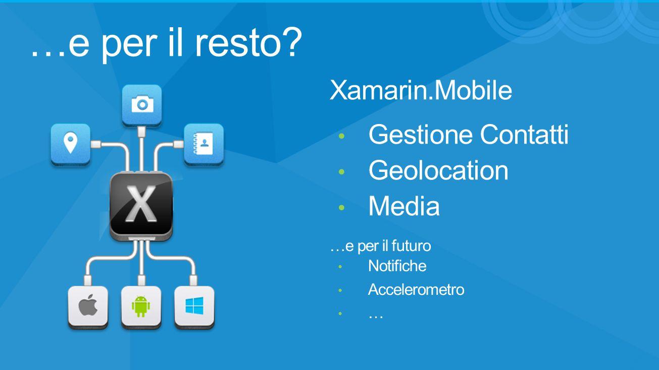 …e per il resto Xamarin.Mobile Gestione Contatti Geolocation Media