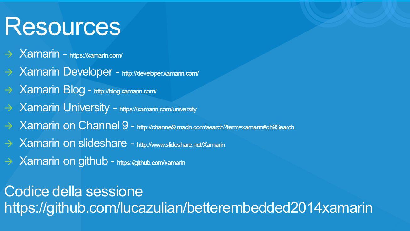Resources Codice della sessione