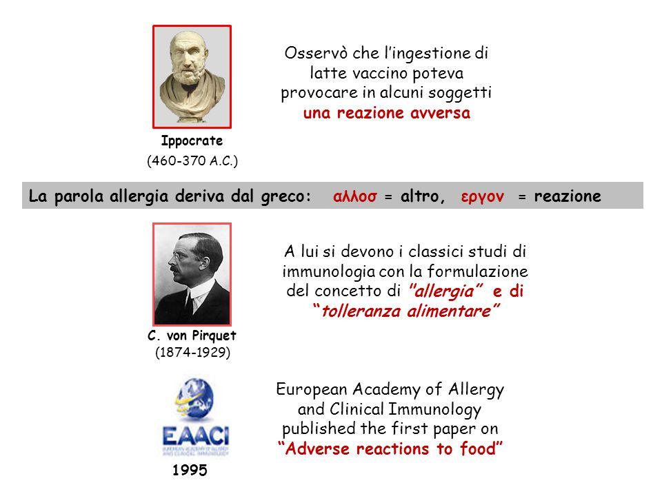 La parola allergia deriva dal greco: αλλοσ = altro, εργον = reazione