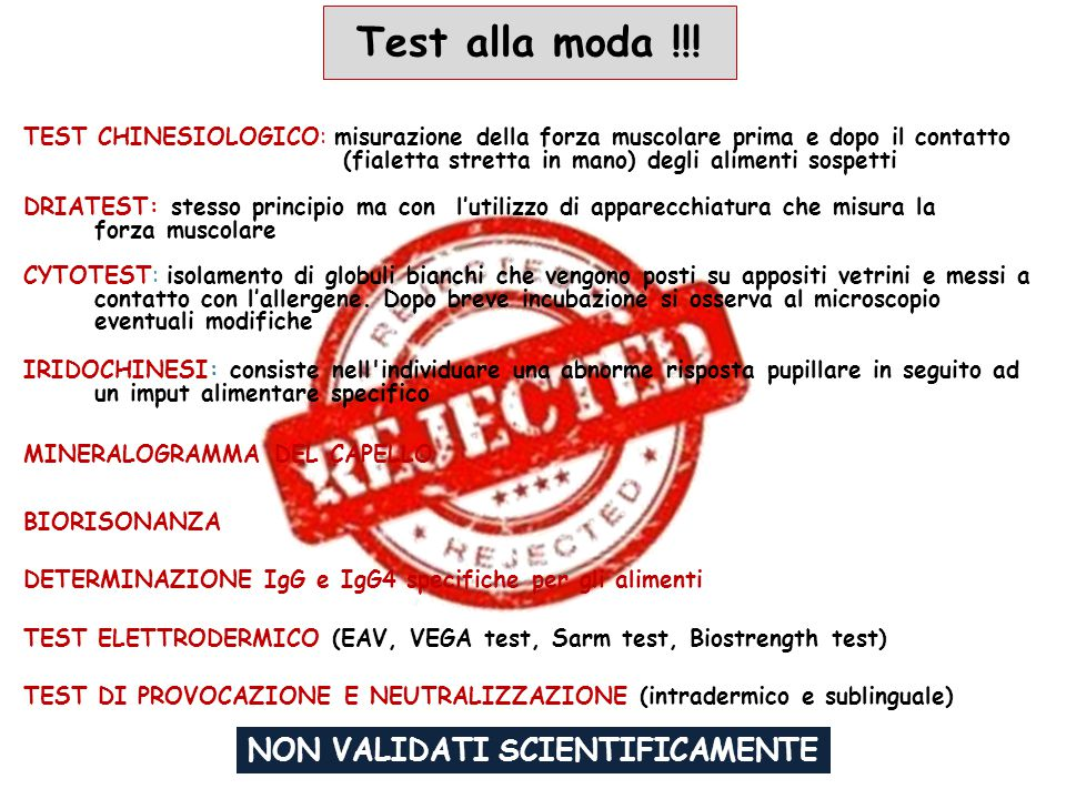NON VALIDATI SCIENTIFICAMENTE