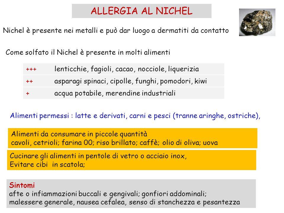 ALLERGIA AL NICHEL Nichel è presente nei metalli e può dar luogo a dermatiti da contatto. Come solfato il Nichel è presente in molti alimenti.