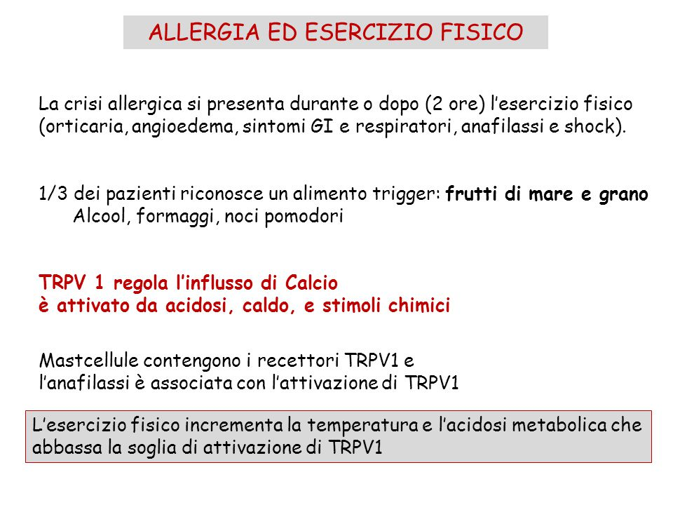 ALLERGIA ED ESERCIZIO FISICO