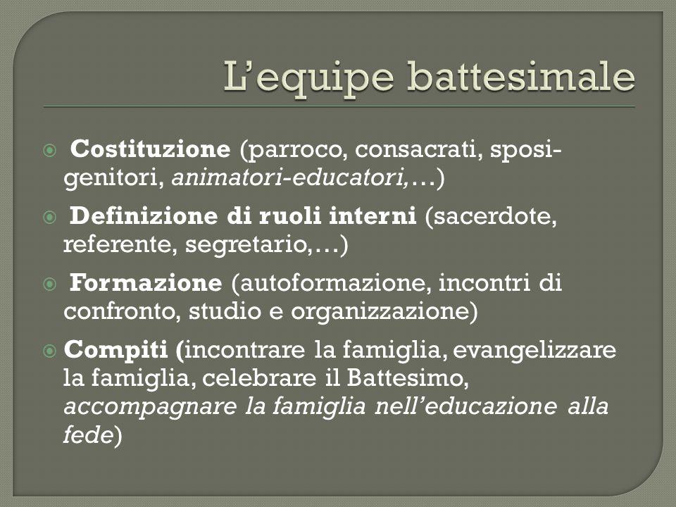 L'equipe battesimale Costituzione (parroco, consacrati, sposi-genitori, animatori-educatori,…)