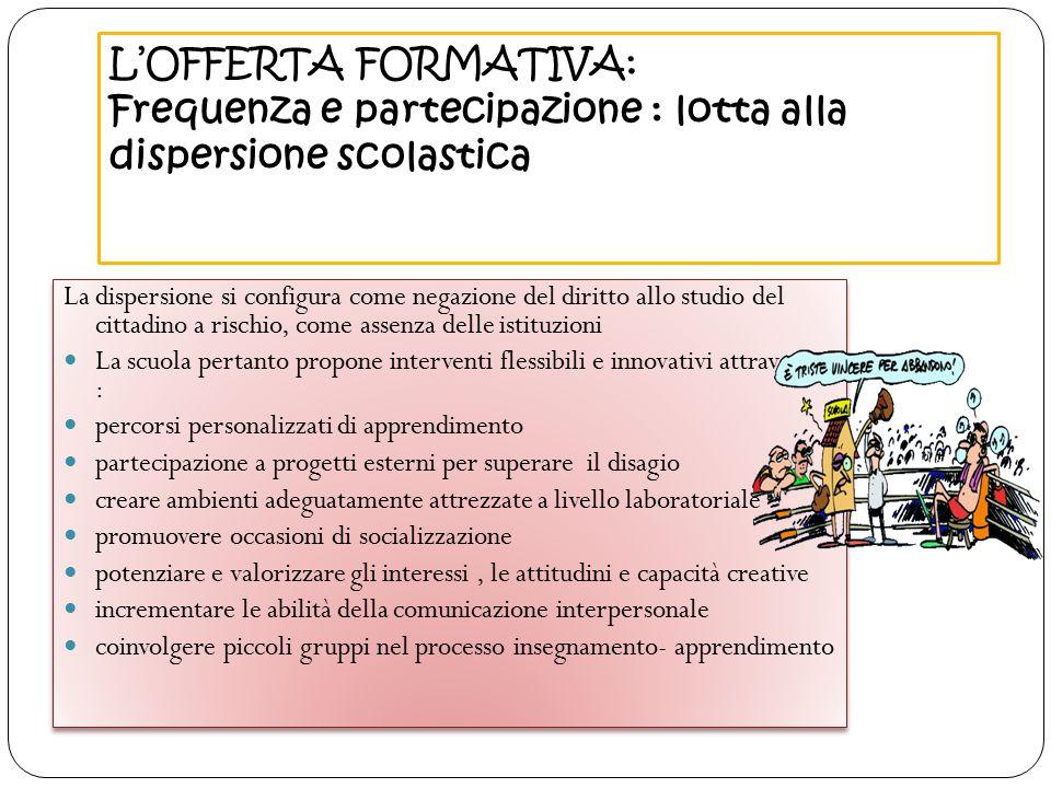 L'OFFERTA FORMATIVA: Frequenza e partecipazione : lotta alla dispersione scolastica
