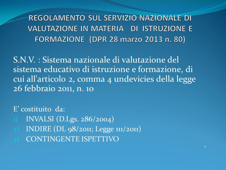 REGOLAMENTO SUL SERVIZIO NAZIONALE DI VALUTAZIONE IN MATERIA DI ISTRUZIONE E FORMAZIONE (DPR 28 marzo 2013 n. 80)
