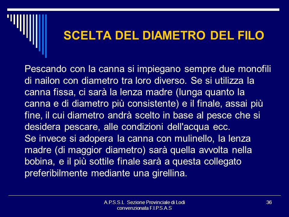 SCELTA DEL DIAMETRO DEL FILO