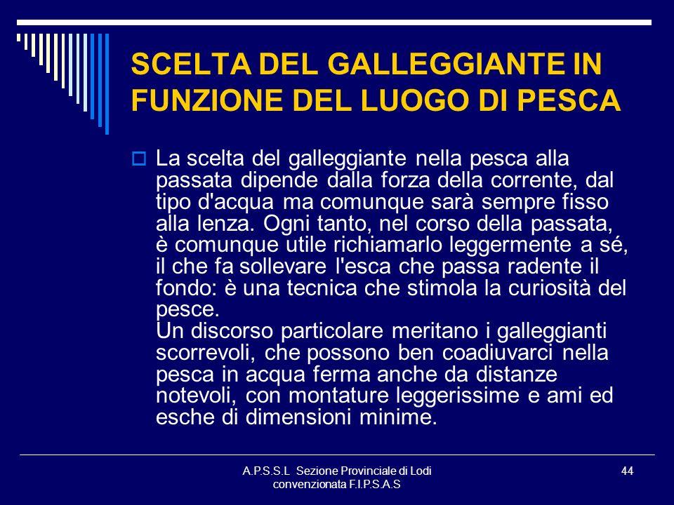 SCELTA DEL GALLEGGIANTE IN FUNZIONE DEL LUOGO DI PESCA