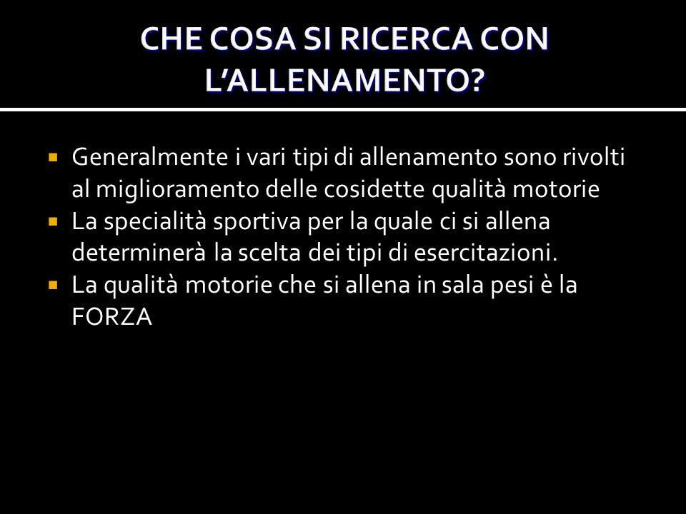 CHE COSA SI RICERCA CON L'ALLENAMENTO