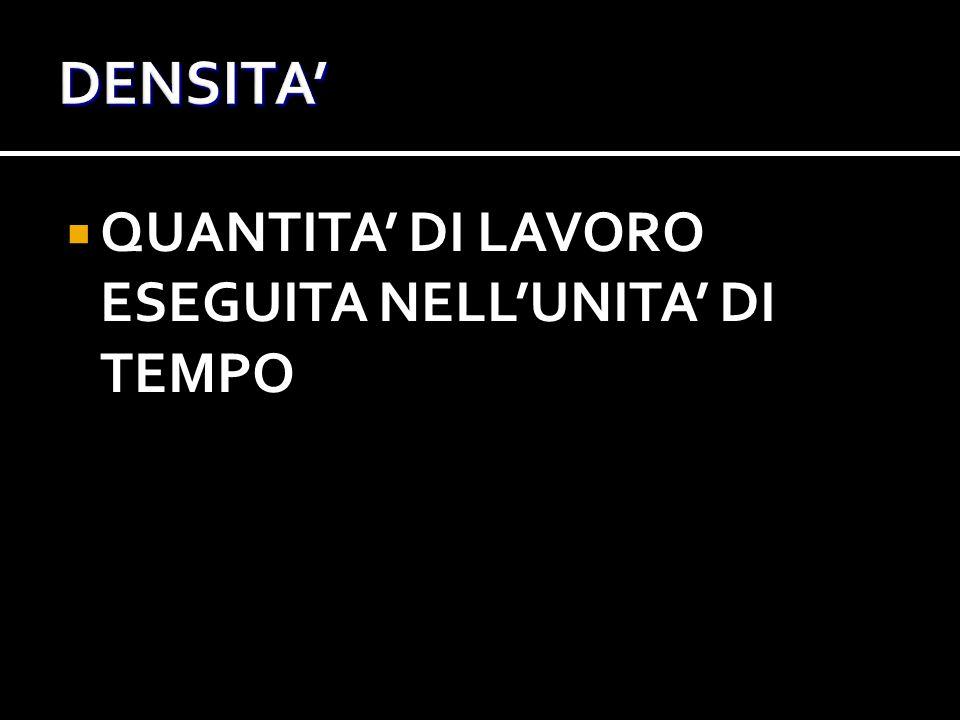 DENSITA' QUANTITA' DI LAVORO ESEGUITA NELL'UNITA' DI TEMPO