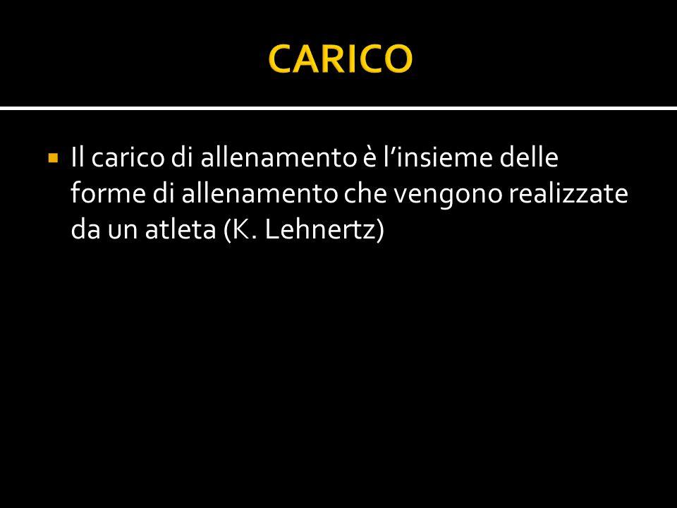 CARICO Il carico di allenamento è l'insieme delle forme di allenamento che vengono realizzate da un atleta (K.
