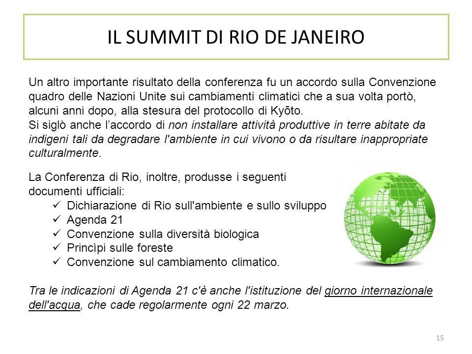 IL SUMMIT DI RIO DE JANEIRO