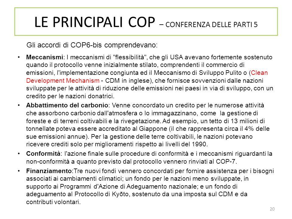 LE PRINCIPALI COP – CONFERENZA DELLE PARTI 5