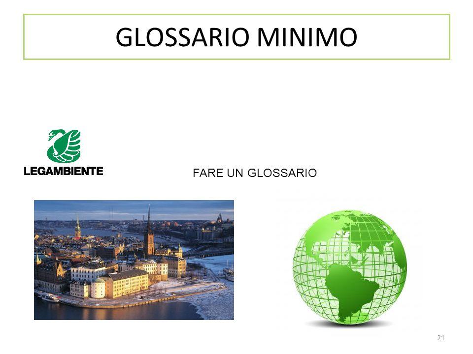 GLOSSARIO MINIMO FARE UN GLOSSARIO Link a Protocollo di Kyoto 21