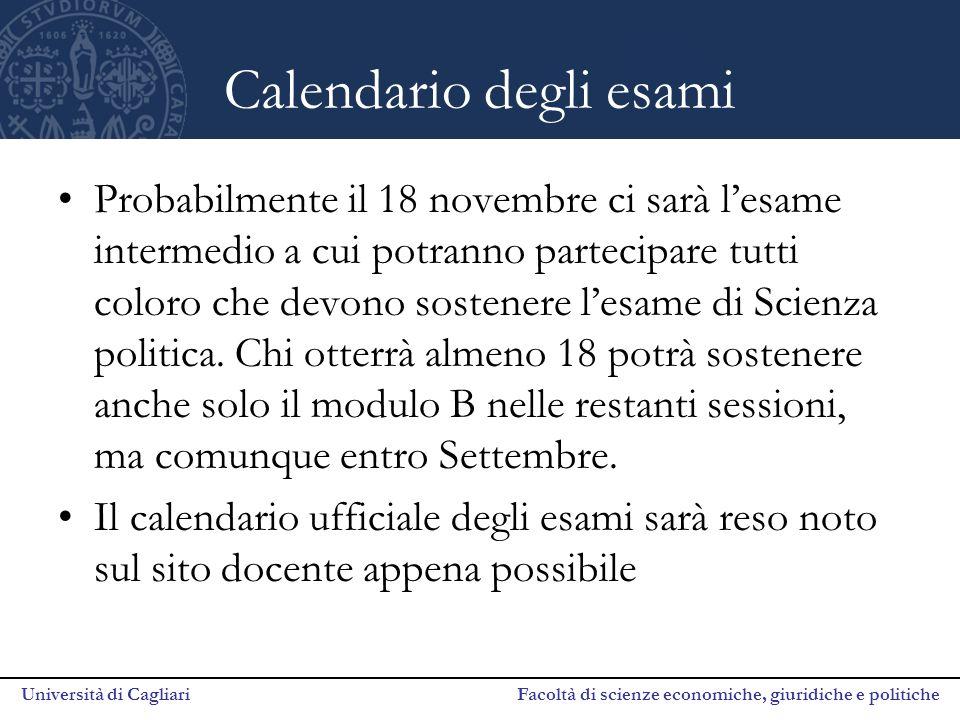 Calendario degli esami