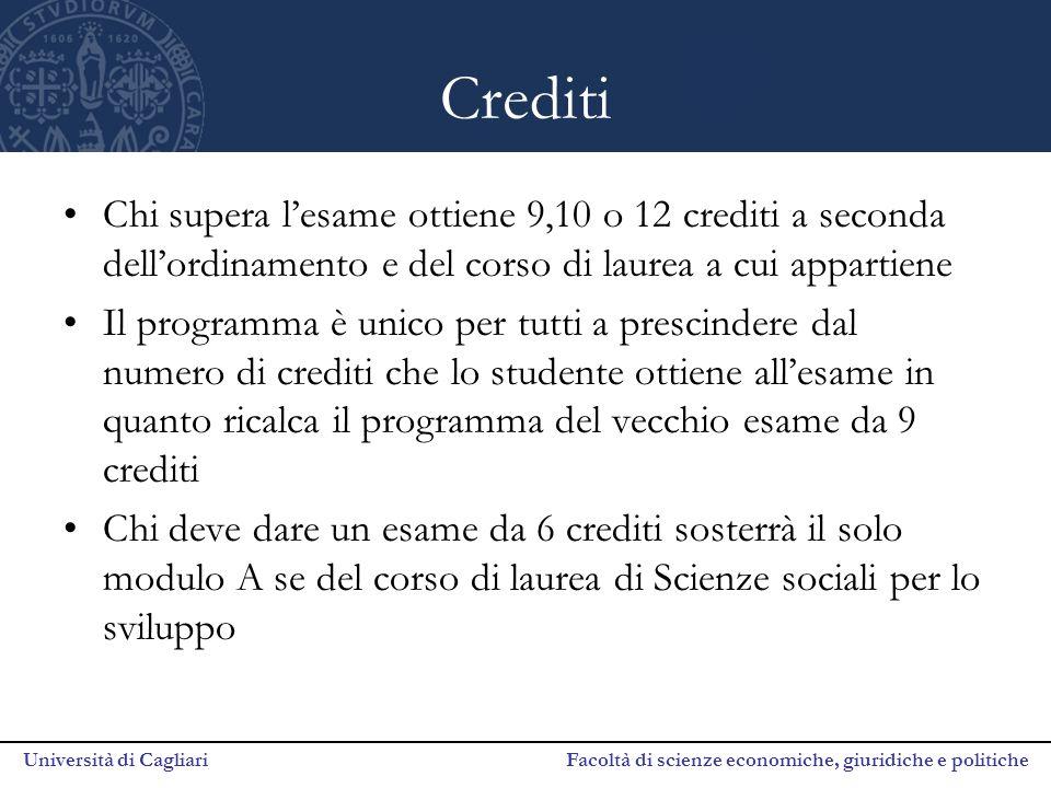 Crediti Chi supera l'esame ottiene 9,10 o 12 crediti a seconda dell'ordinamento e del corso di laurea a cui appartiene.