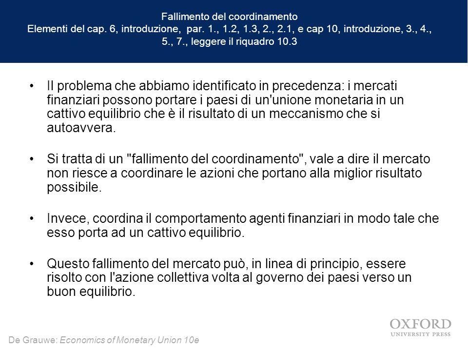 Fallimento del coordinamento Elementi del cap. 6, introduzione, par. 1